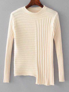 Fitting Asymmetrical Mock Neck Sweater - White