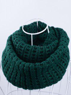 Soft Simple Color Knitted Infinity Scarf - Blackish Green