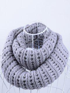 Soft Simple Color Knitted Infinity Scarf - Gray