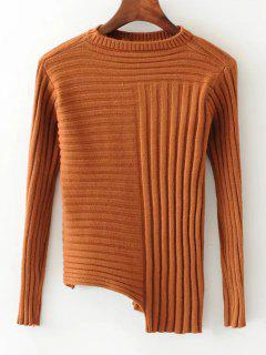 Fitting Asymmetrical Mock Neck Sweater - Light Coffee