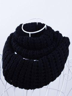 Soft Simple Color Knitted Infinity Scarf - Black