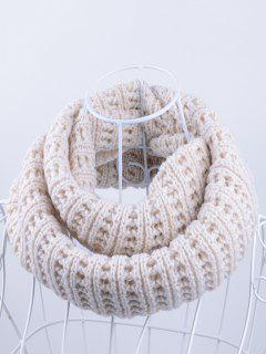 Soft Simple Color Knitted Infinity Scarf - Off-white