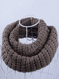 Soft Simple Color Knitted Infinity Scarf - Light Coffee