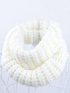 Soft Simple Color Knitted Infinity Scarf - White