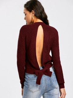 Tied Back Cut Out Sweater - Dark Red M
