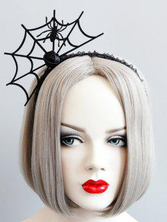 Halloween Rose Flower Spider Web Hairband - Black