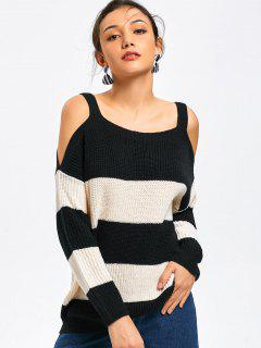 Cold Shoulder Color Block Sweater - White And Black L