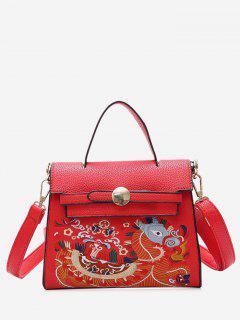 Embroidery PU Leather Handbag - Red