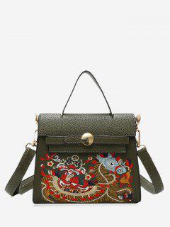 Embroidery PU Leather Handbag - Green