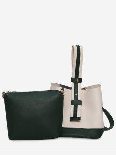 Color Block Two Tone Handbag - White