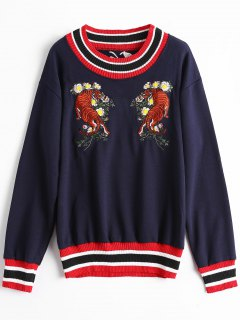Floral Tiger Embroidered Patch Sweater - Purplish Blue