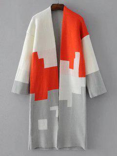 Open Front Contrasting Geometric Cardigan - Orangepink
