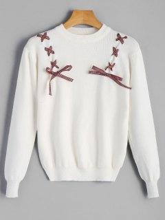 Ribbon Lace-up Crew Neck Sweater - White