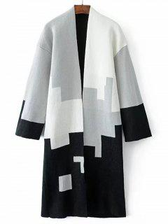 Open Front Contrasting Geometric Cardigan - White