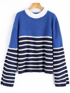 Übergröße Pullover Mit Streifen Und Mock Neck  - Streifen