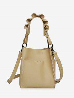 Stitching Ruffles Tote Bag - Khaki