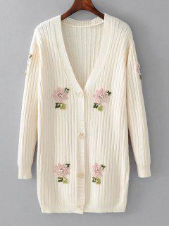 Beaded Button Up Floral Applique Cardigan - White