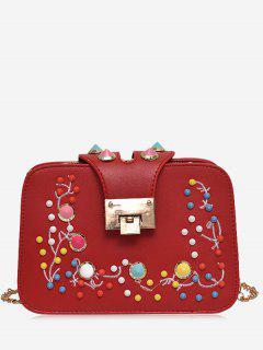 Rivet Multi Colors Crossbody Bag - Red