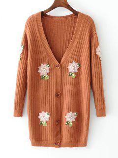 Beaded Button Up Floral Applique Cardigan - Light Coffee
