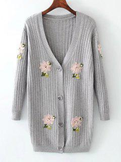 Beaded Button Up Floral Applique Cardigan - Gray