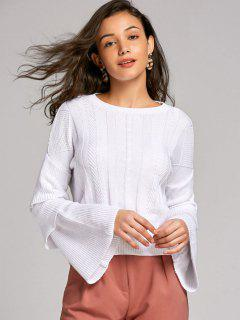 Pullover Layered Sleeve Sweater - White S