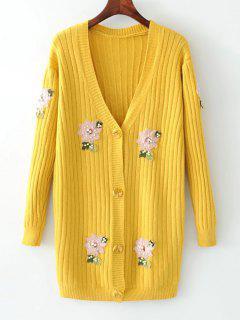 Botón De Cuentas Hasta La Chaqueta De Punto Floral - Amarillo