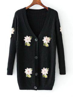 Beaded Button Up Floral Applique Cardigan - Black