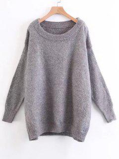 Drop Shoulder Oversized Fuzzy Sweater - Gray