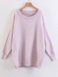 Drop Shoulder Oversized Fuzzy Sweater - Light Purple