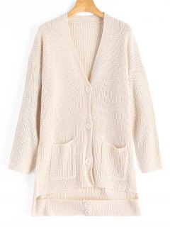 Button Up Cutout V Neck Cardigan - Apricot