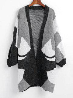 Open Front Contrasting Geometric Cardigan With Pockets - Black