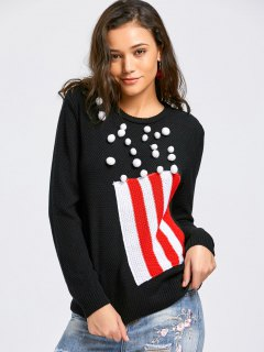 Striped Poms Sweater - Black Xl