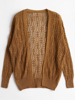 Open Front Plain Hollow Out Cardigan - Brown