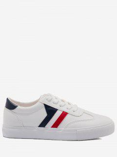 Striped Contrasting Color Skate Shoes - Blue And White 39