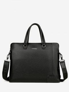 Metal Strap Letter Handbag - Black