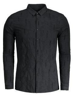 Crinkly Button Up Shirt - Black Xl