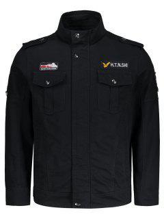 Embroidered Patch Design Jacket - Black Xl