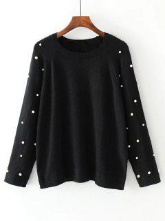 Raglan Sleeve Oversized Faux Pearls Sweater - Black L