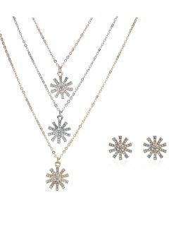 Rhinestone Layered Sun Necklace And Earrings