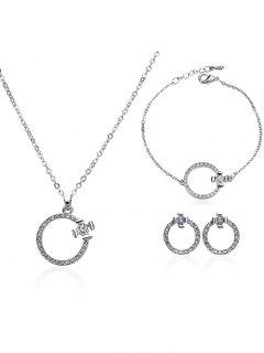Rhinestone Circle Earrings Necklace And Bracelet - Silver