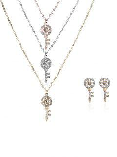 Rhinestone Layered Key Necklace And Earrings