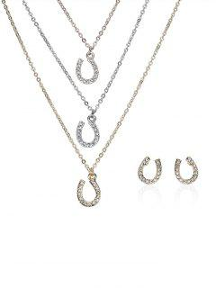 Rhinestone Layered Horseshoe Necklace And Earrings