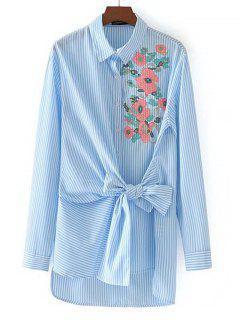 Bowknot-Blumen Gesticktes Streifen-Hemd - Streifen  S