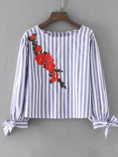 Bowknot Floral Embroidered Stripes Blouse - Stripe S