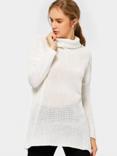 Turtleneck Drop Shoulder Tunic Sweater - Off-white S
