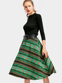 Geometric Belted A Line Dress - Green M