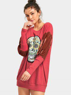 Sequined Skull Velvet Panel Sweatshirt Dress - Red S