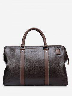 Rivet Stitching PU Leather Tote Bag - Brown