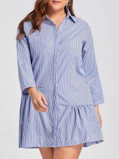 Plus Size Stripe Button Up Drop Waist Dress - Blue 4xl