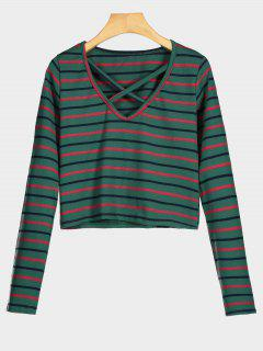 Criss Cross Striped Crop Tee - Green